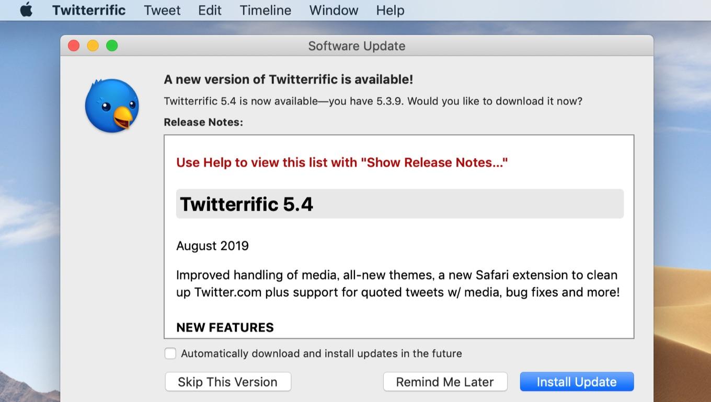 Twitterrific for Mac v5 4 relase note