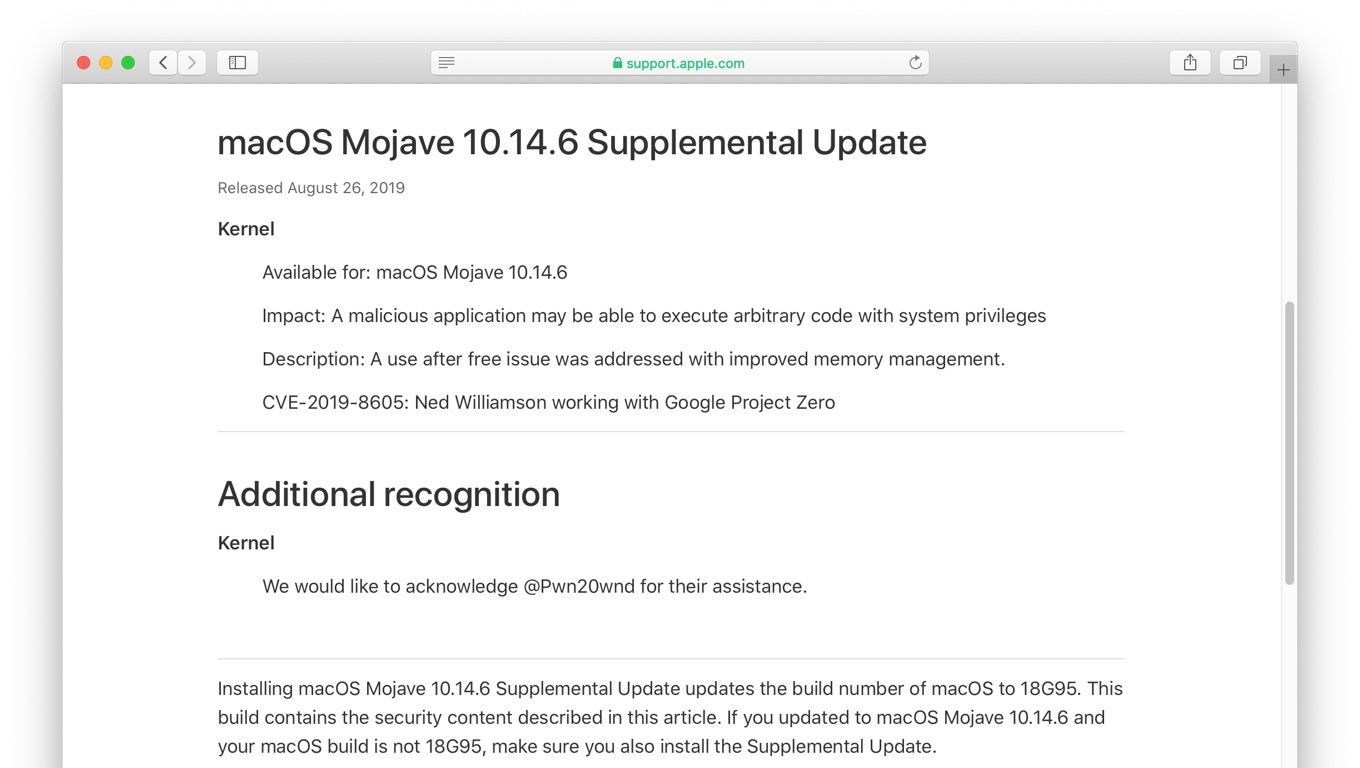 macOS Mojave 10.14.6 Supplemental Update
