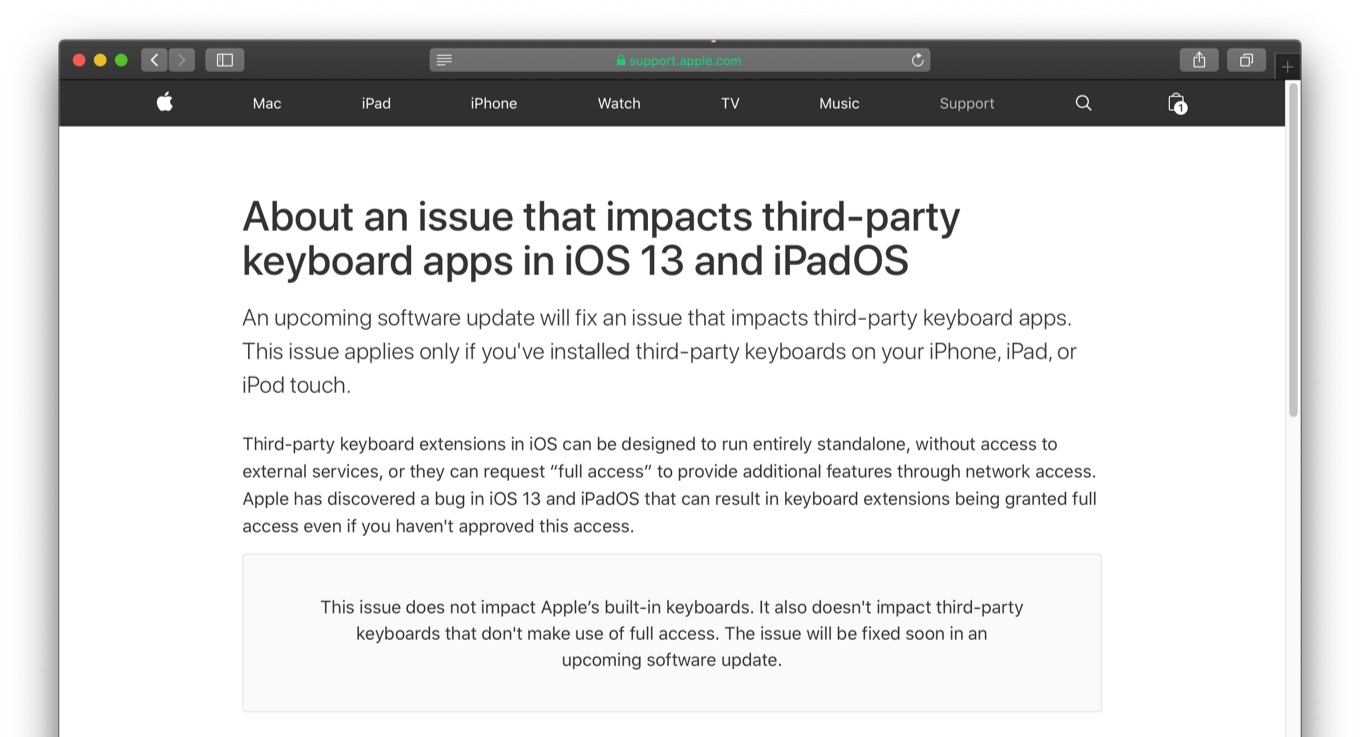 About an issue that impacts third-party keyboard apps in iOS 13 and iPadOS