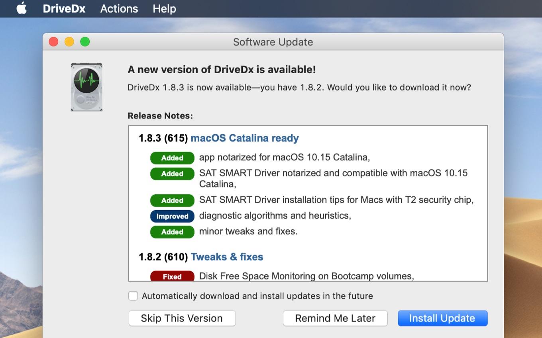 DriveDx v1.8.3 macOS Catalina Ready