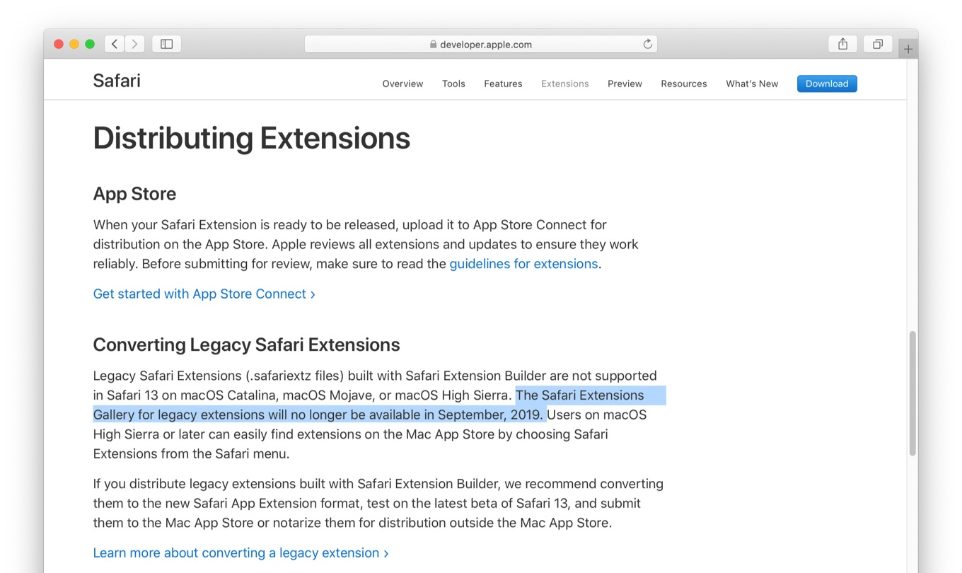 Safari Extensions Gallery closed