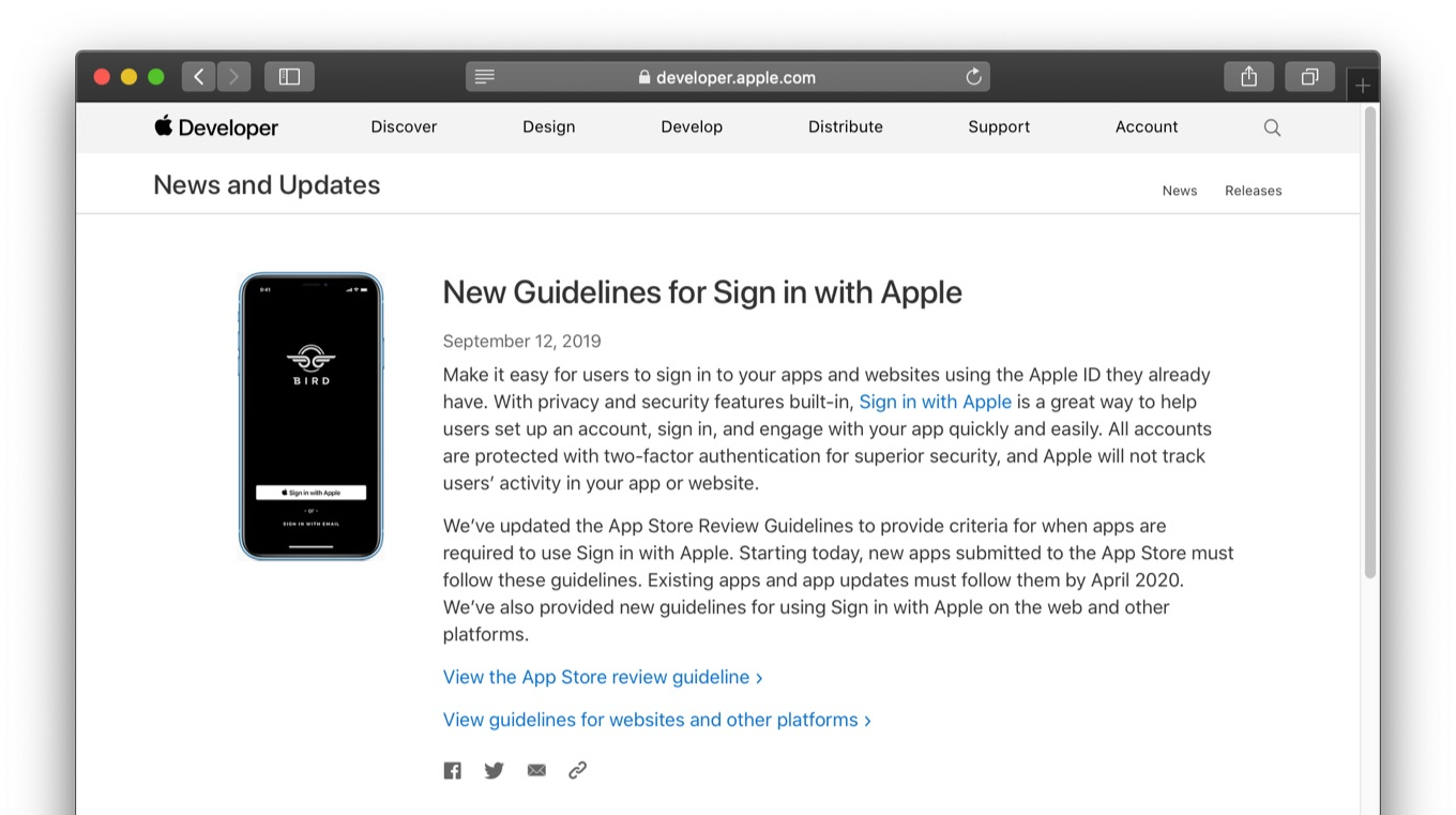 New Guidelines for Sign in with Apple