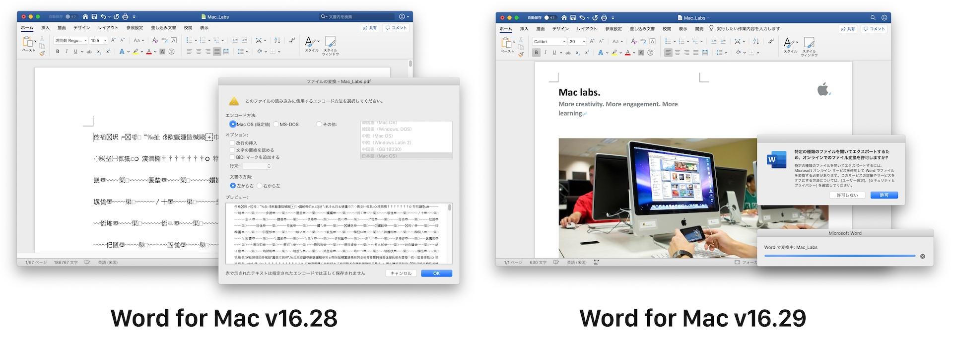 Word for Mac v16.29 support pdf convert to docx