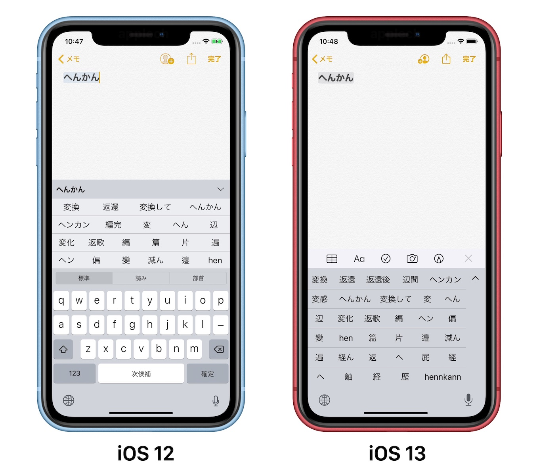 iOS 12とiOS 13のキーボード