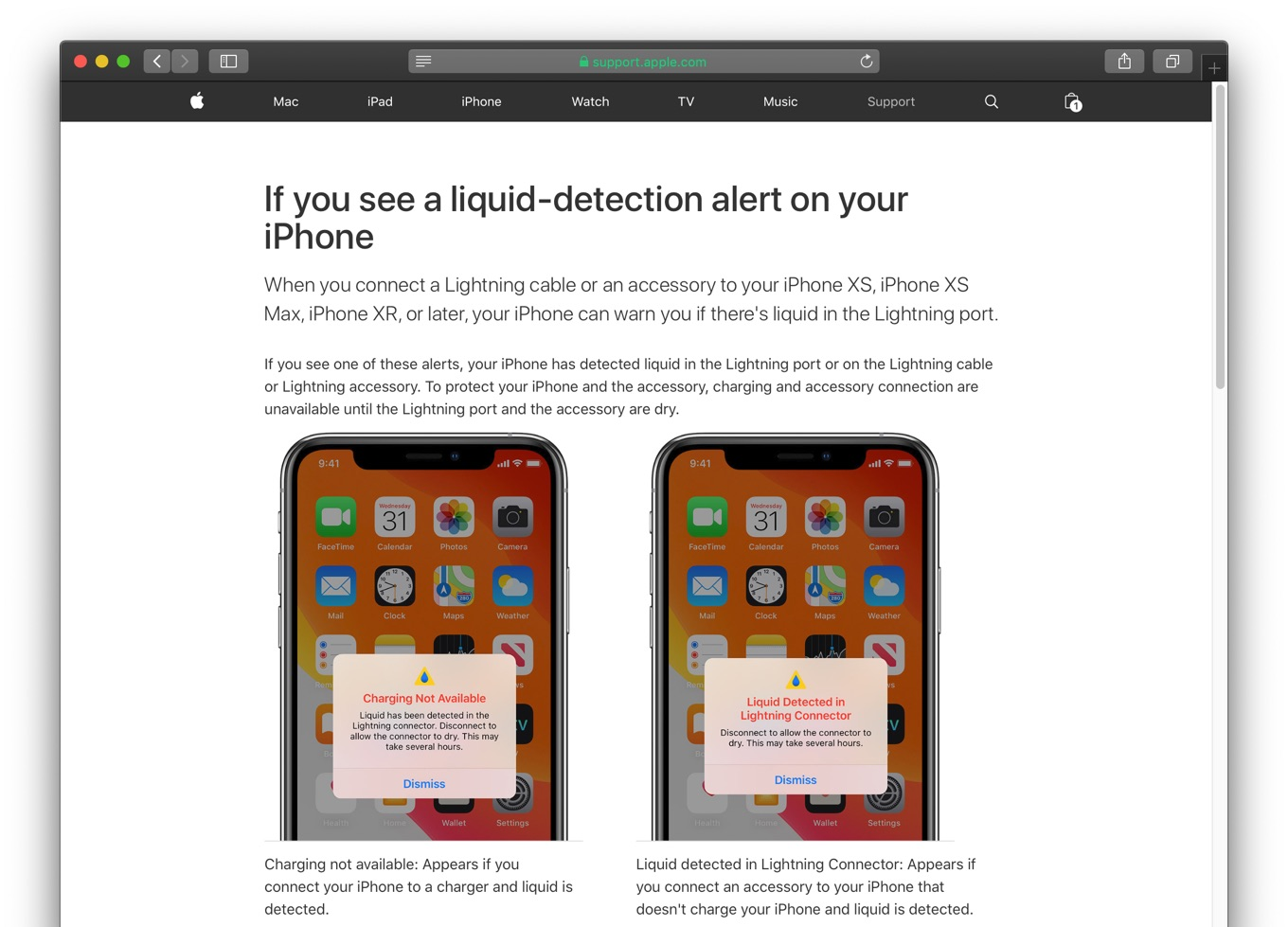 iPhone XR Liquid detection