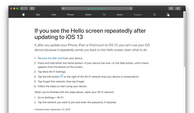 iOS 13のHello Screen ループバグ