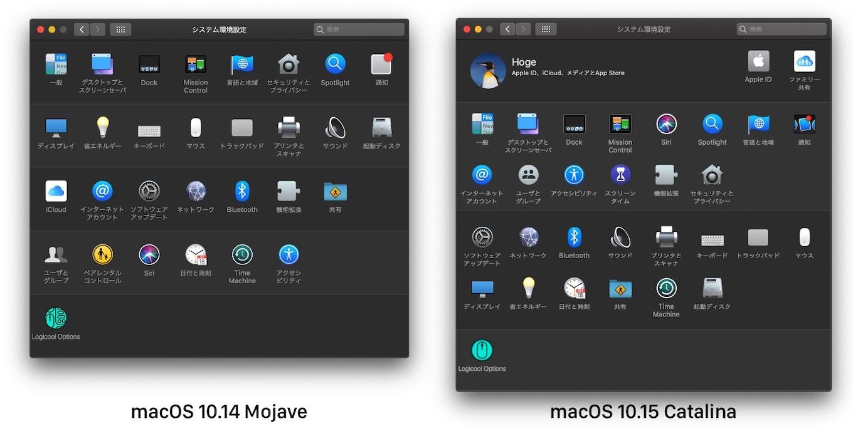 macOS 10.15 Catalinaのシステム環境設定アプリ