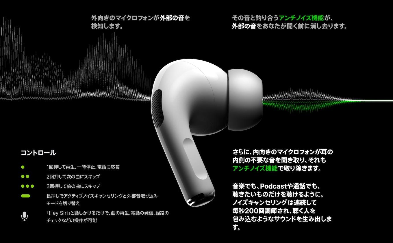 AirPods Proのアクティブノイズキャンセリング感圧センサー