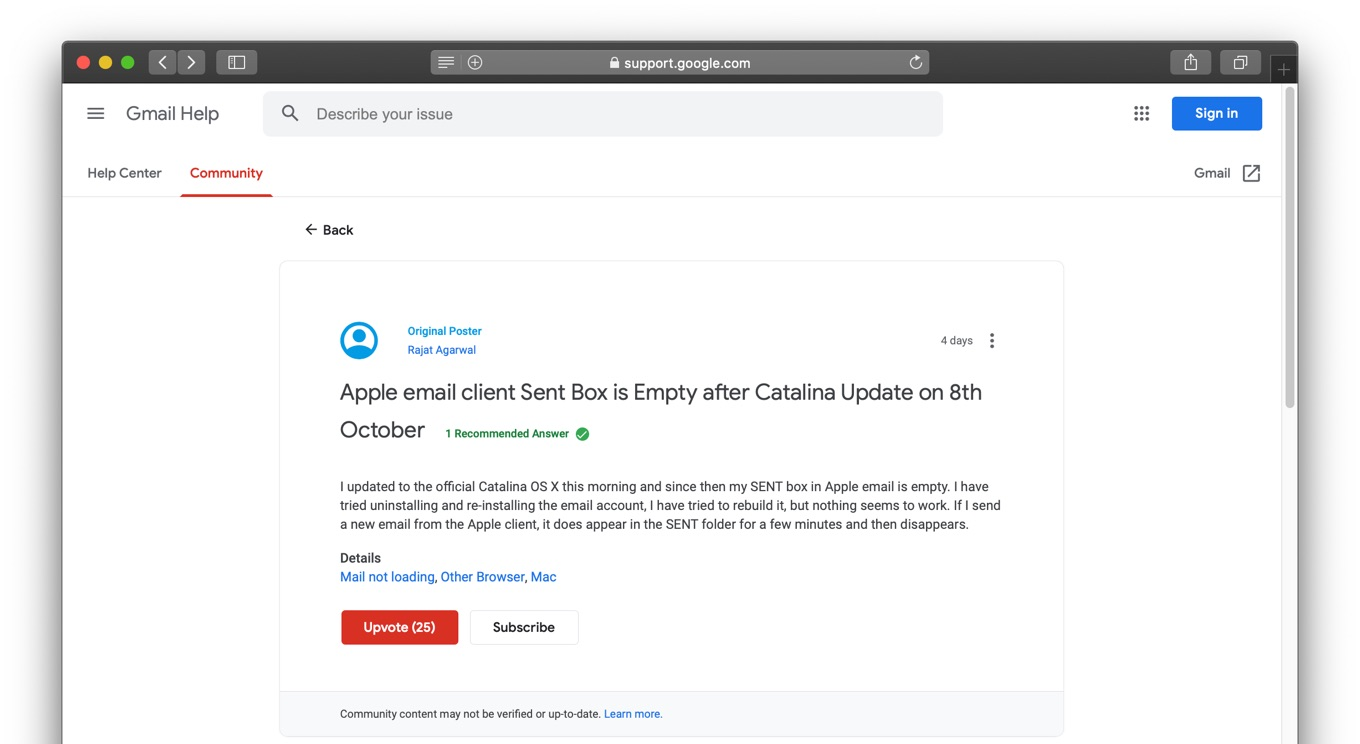 Apple email client Sent Box is Empty after Catalina Update on 8th October