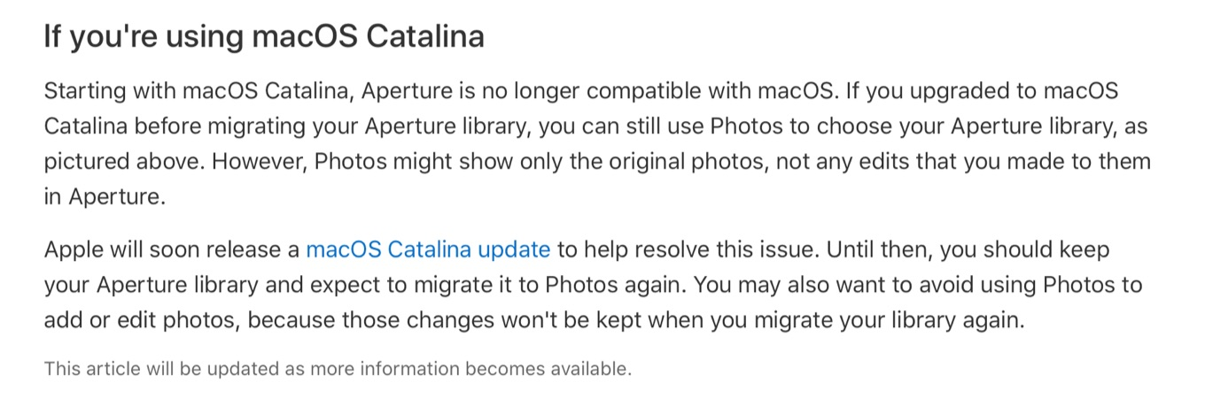 Aperture migrate to Apple Photos
