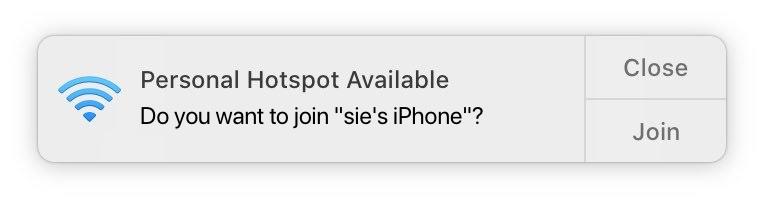 iPhoneのHotSpotに接続する