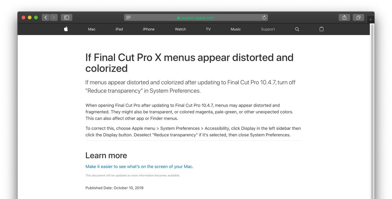 Final Cut Pro X v10.4.7アップデートの不具合