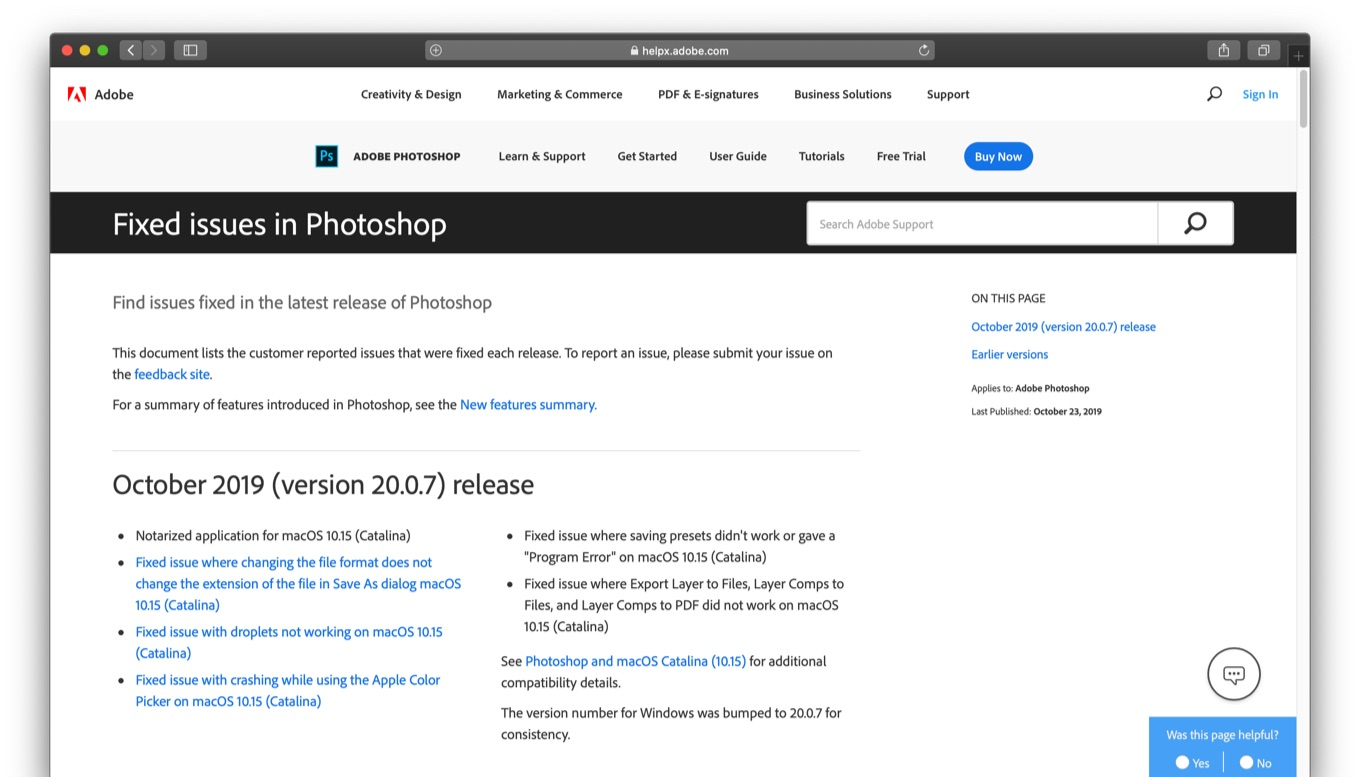 Fixed issues in Photoshop on macOS 10 15 Catalina