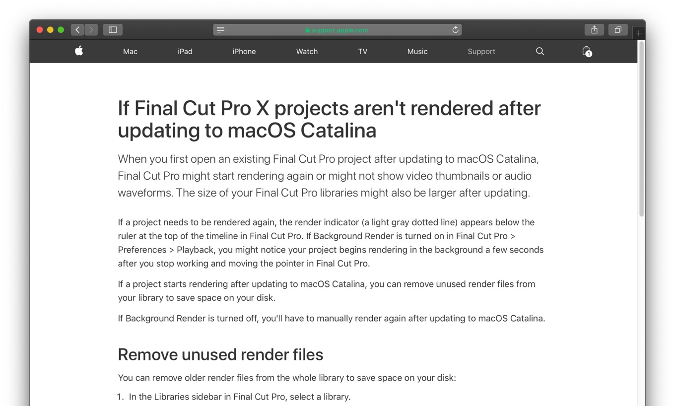 If Final Cut Pro X projects aren't rendered after updating to macOS Catalina