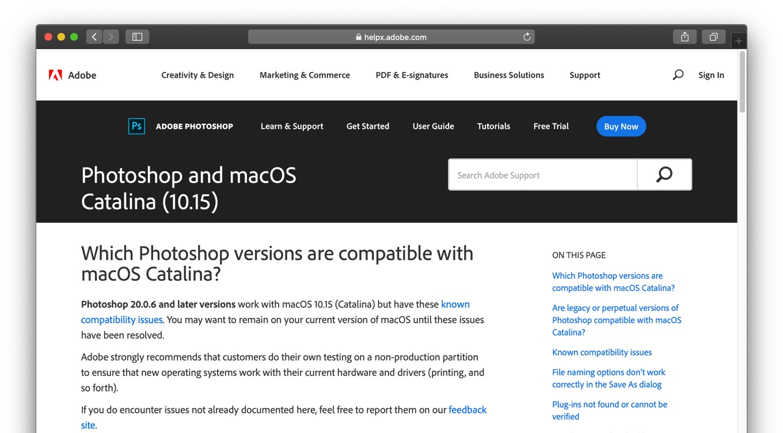 Photoshop and macOS Catalina (10.15)