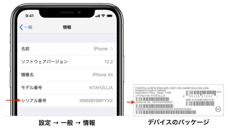 iPhone 6sのシリアル番号の確認方法