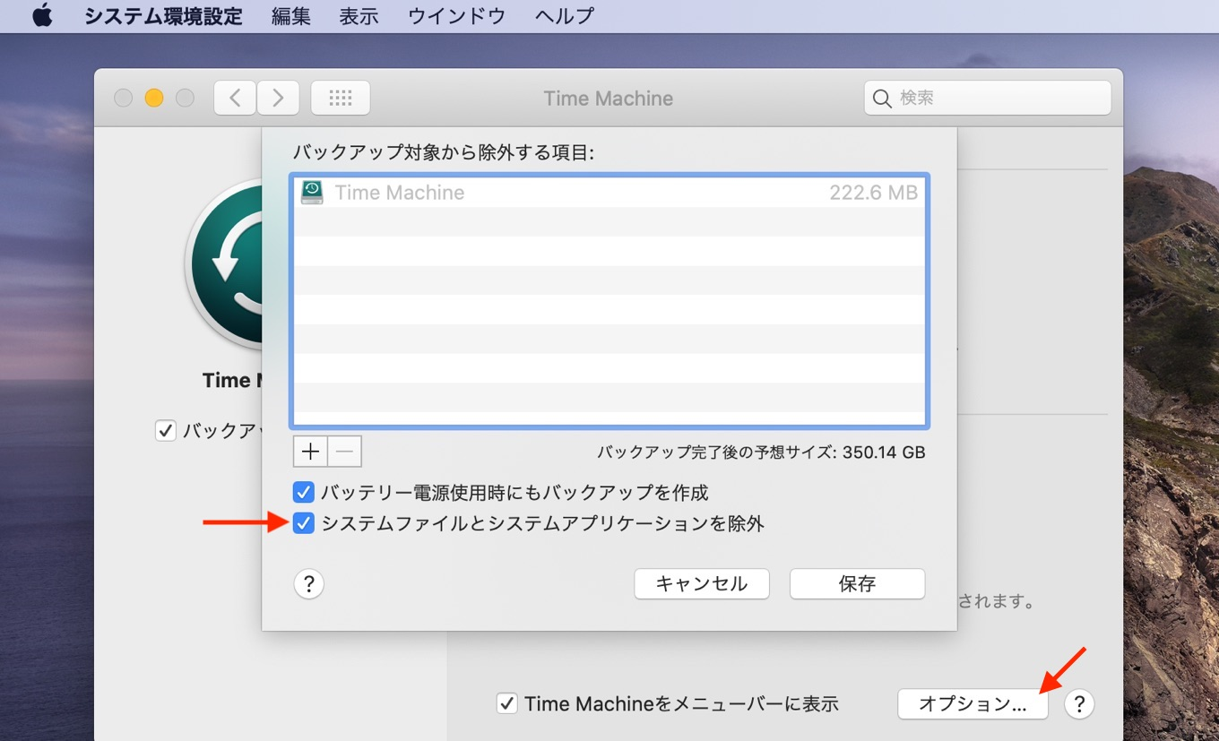 macOS 10.15 CatalinaのTime MachineバックアップからMacintosh HDを除外