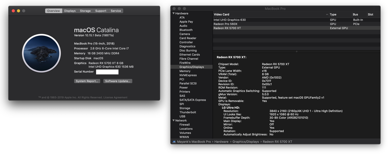 macOS 10.15.1とRadeon RX 5700 XT