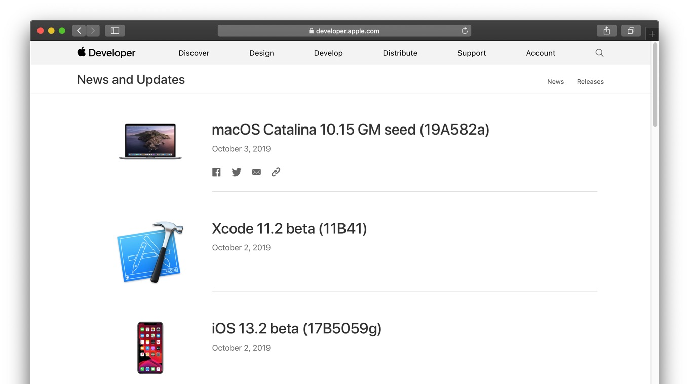 macOS Catalina 10.15 GM seed (19A582a)