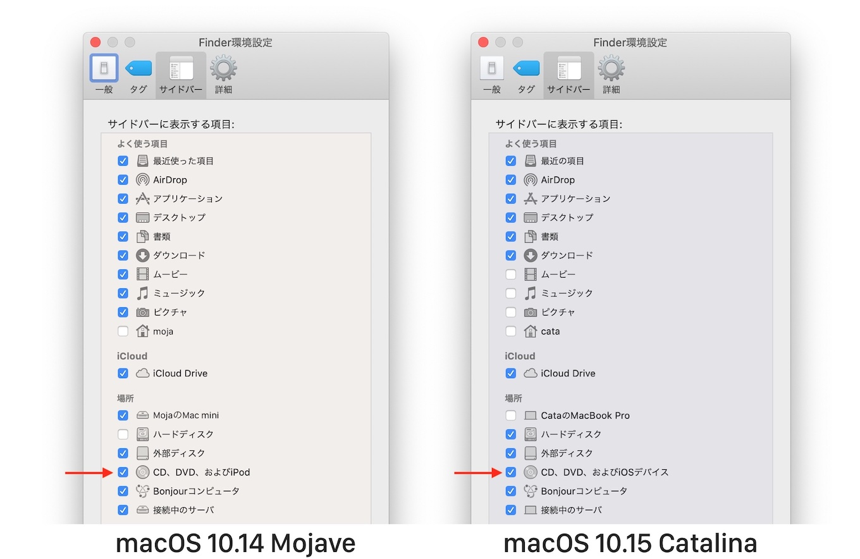 macOS 10.15 Catalinaの「CD、DVD、およびiOSデバイス」表示