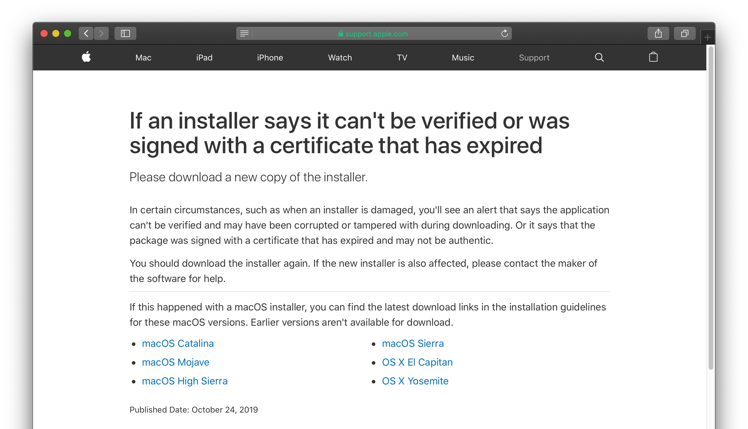 macOS installer says it was signed with a certificate that has expired