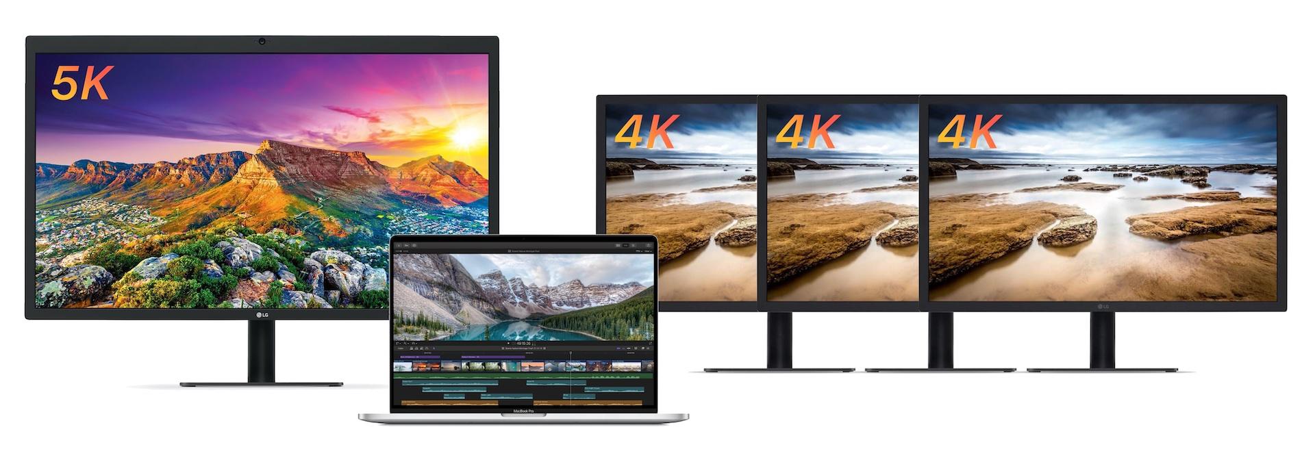 MacBook Pro (16-inch, 2019)に接続された5K1台と4K3台