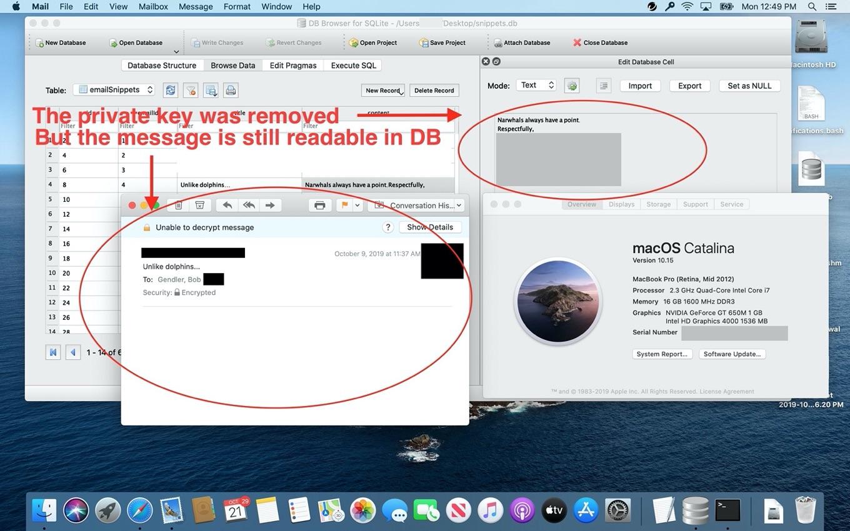 macOS 10.15 Catalinaで暗号化されたメッセージがプレーンテキストで見つかる