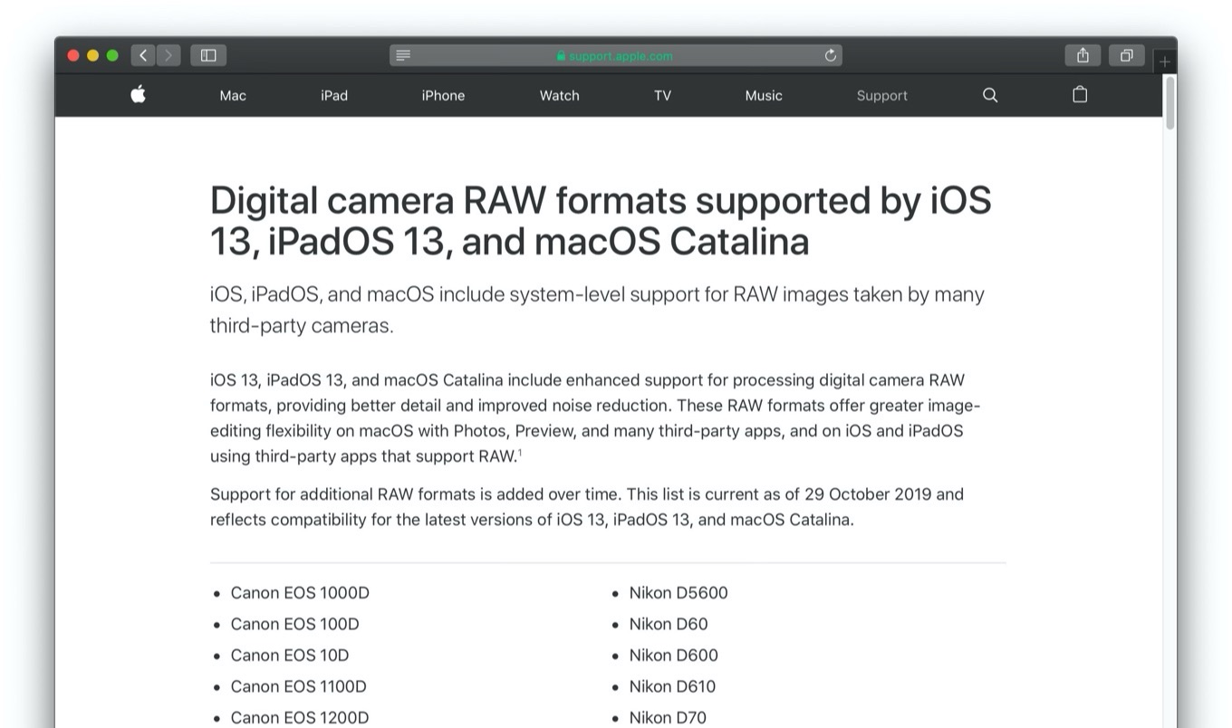 Digital camera RAW formats supported by iOS 13 and macOS 10.15 Catalina