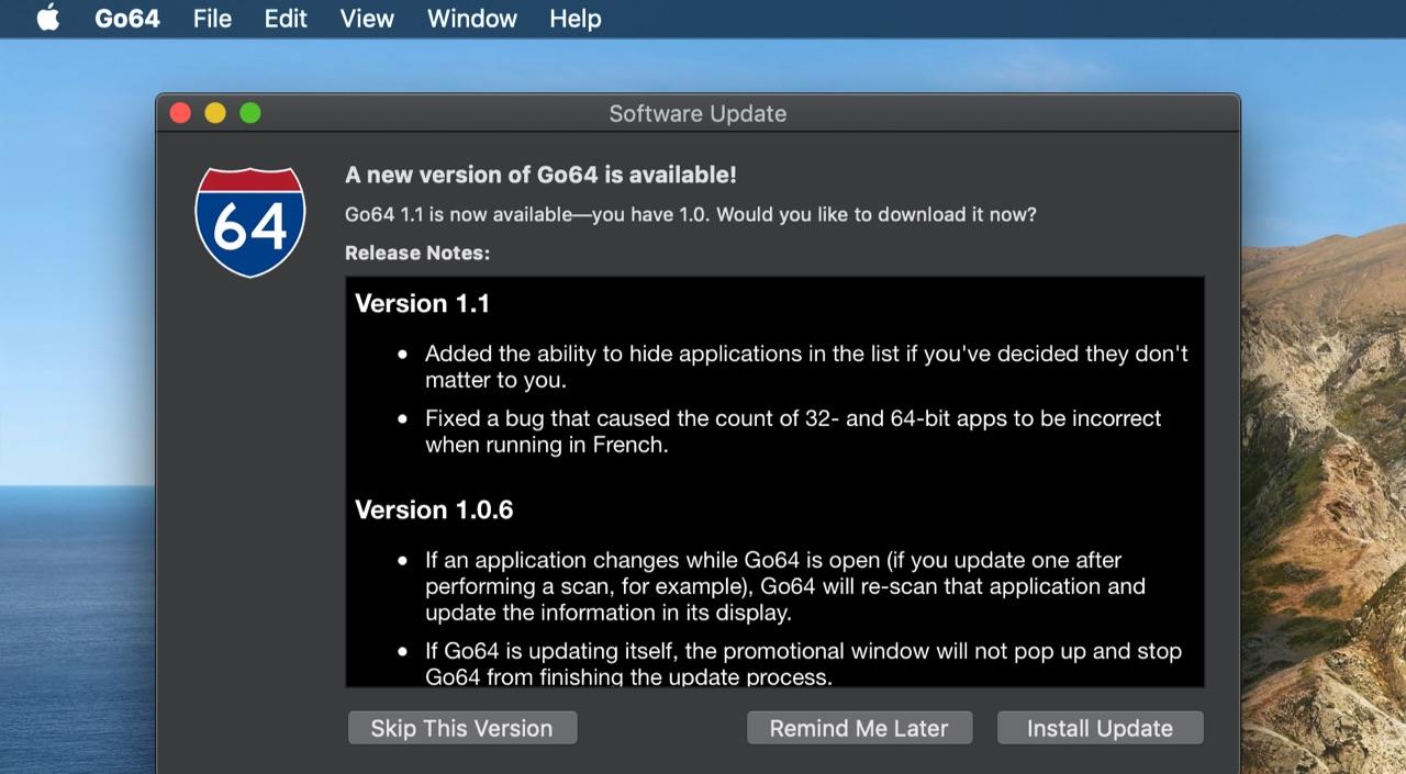 Go64がアプリの非表示に対応。