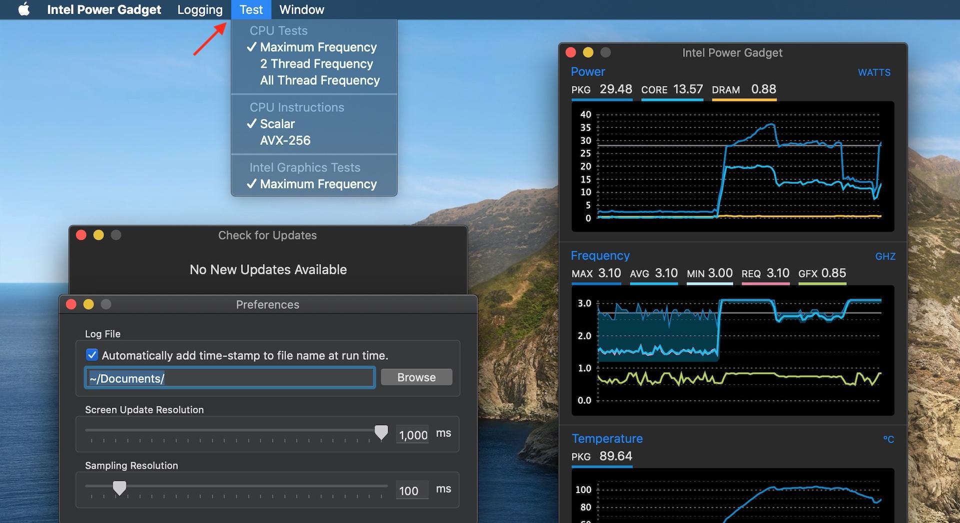 Intel Power Gadget for Mac v3.6の周波数テスト