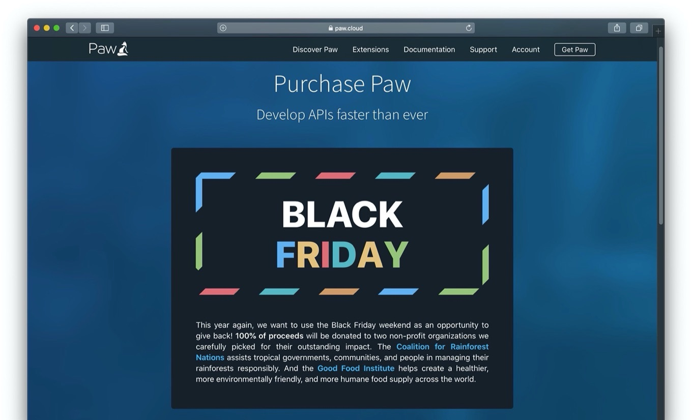 Paw – API tool for Mac 50 OFF Black Friday Sale