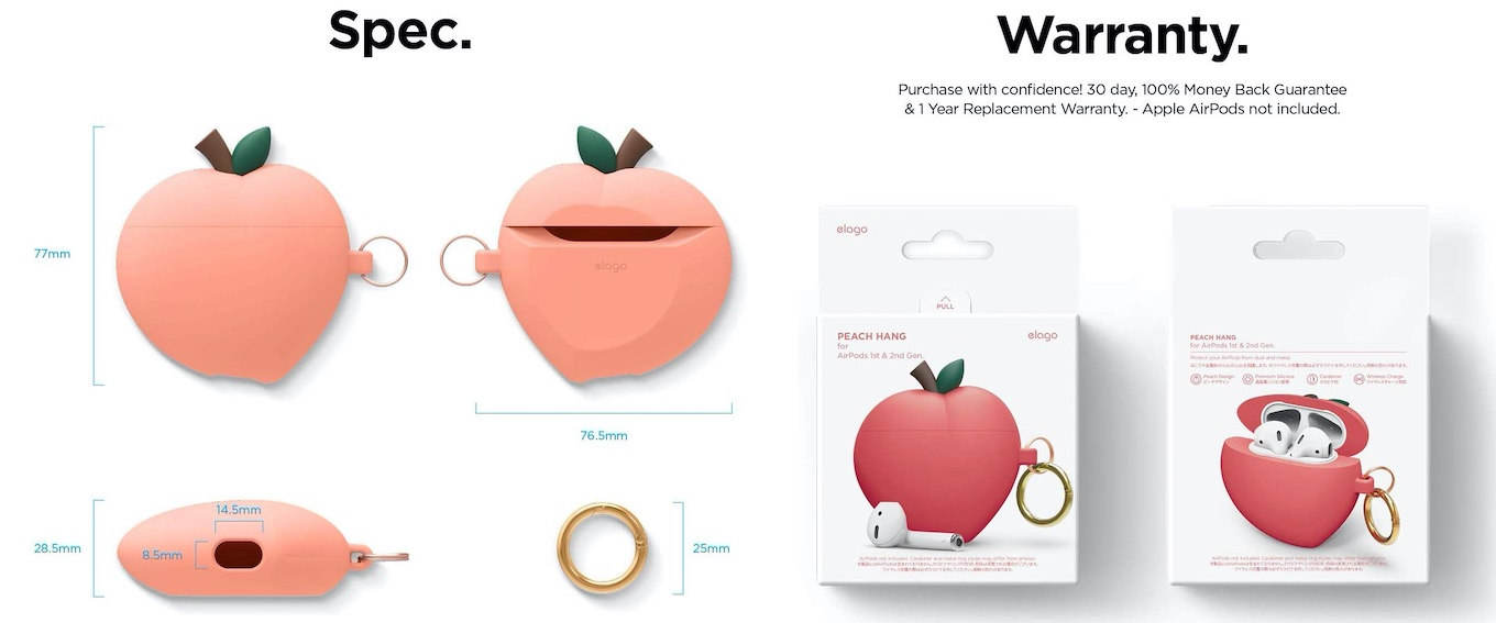 Peach AirPods Case for AirPods 1&2