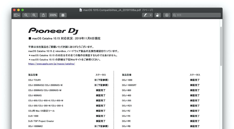 Pioneer DJ  macOS Catalina 10.15 対応状況