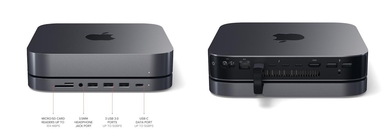Satechi Type-C Aluminum Stand & Hub for Mac mini