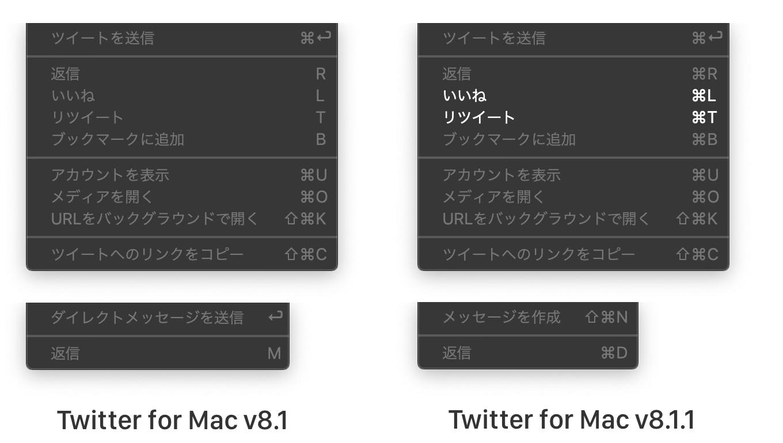 Twitter for Mac v8.1.1で変更されたショートカットキー