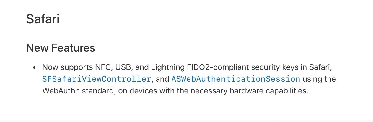 iOS 13.3のSafariではU2FやFIDO2/WebAuthn準拠のUSB/Lightning/NFCセキュリティキーがサポート