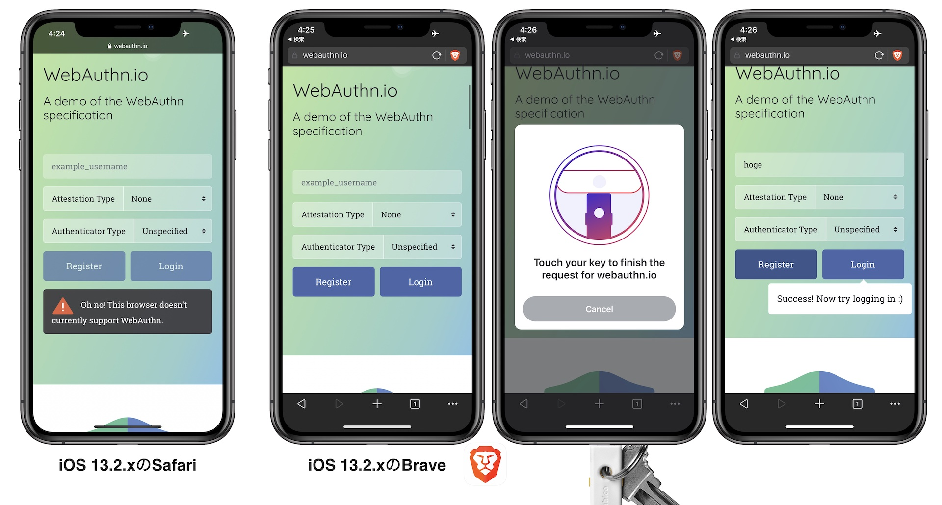 iOS 13.3 support U2F/FIDO2/WebAuthn