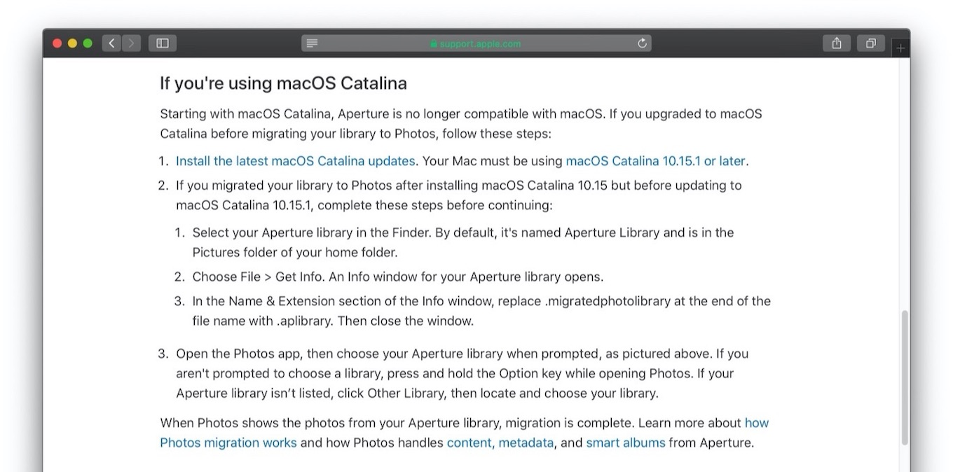 Aperture is no longer compatible with macOS Catalina