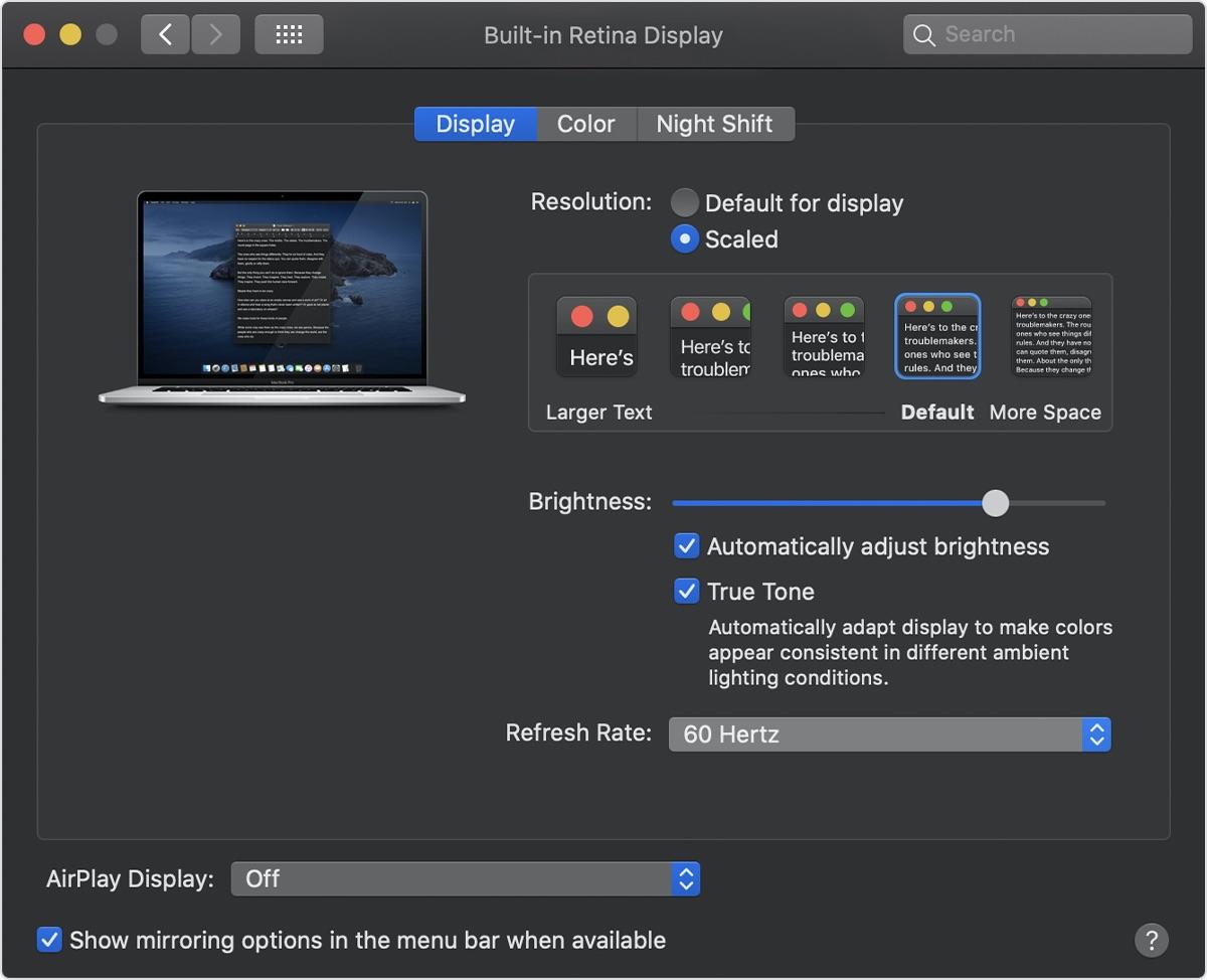 MacBook Pro (16-inch, 2019)のリフレッシュレート選択画面