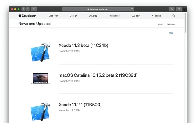 macOS Catalina 10.15.2 beta 2 (19C39d) November 13, 2019