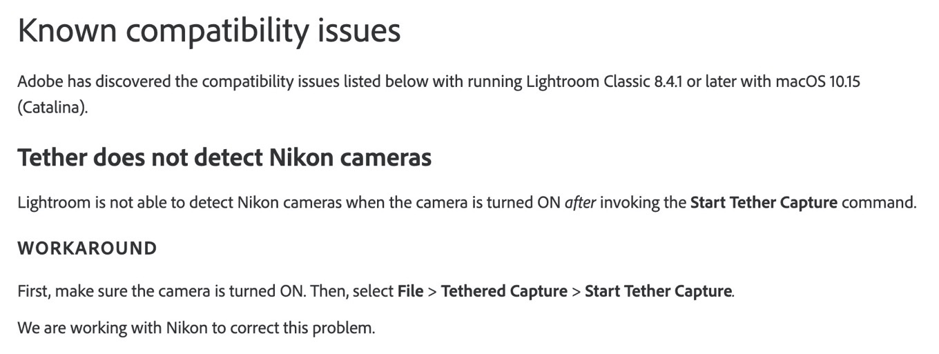 Adobe Lightroom tether issue on macOS Catalina