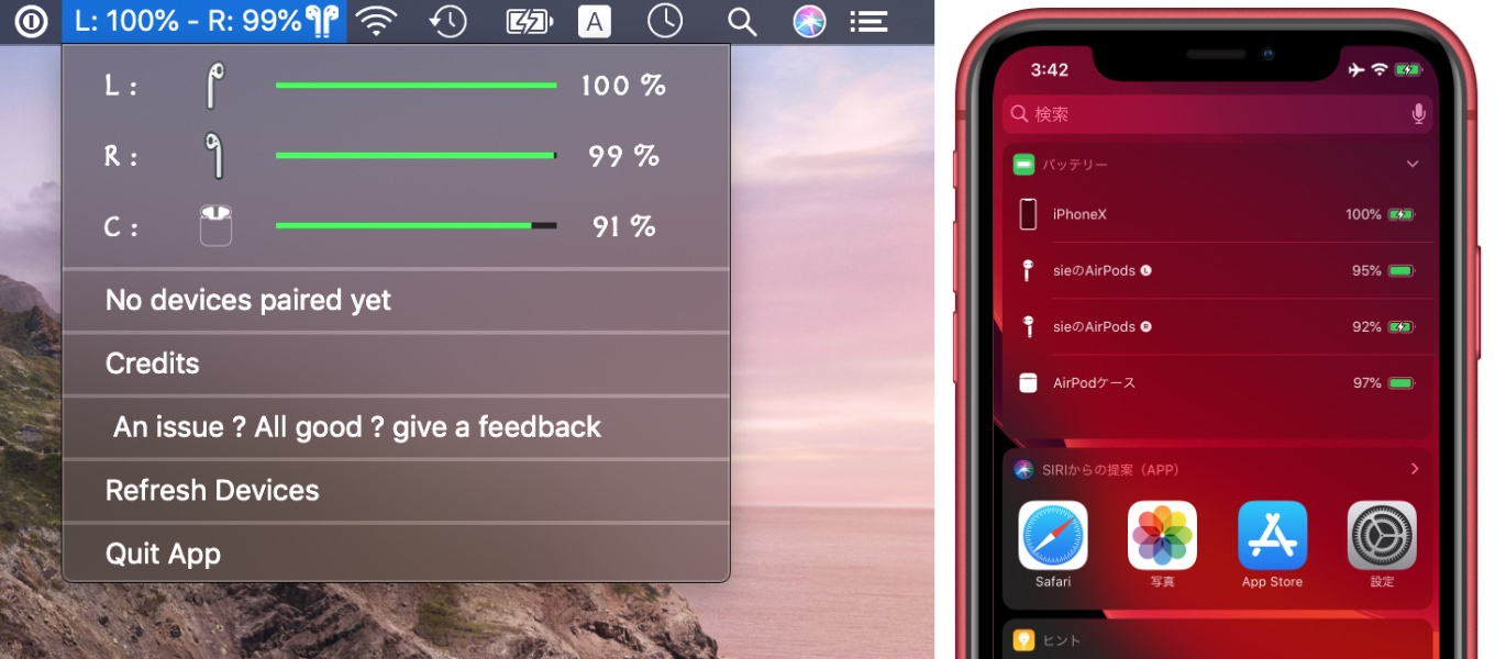 Airpods Battery Monitor App for Mac OS