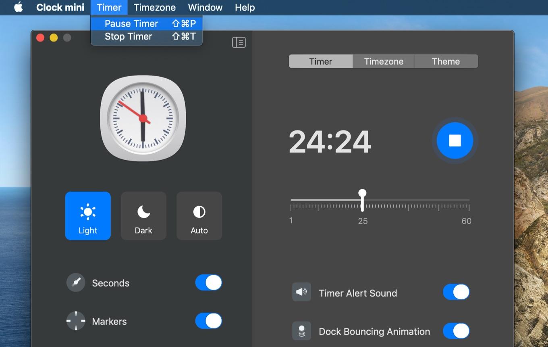 Clock mini pause timer
