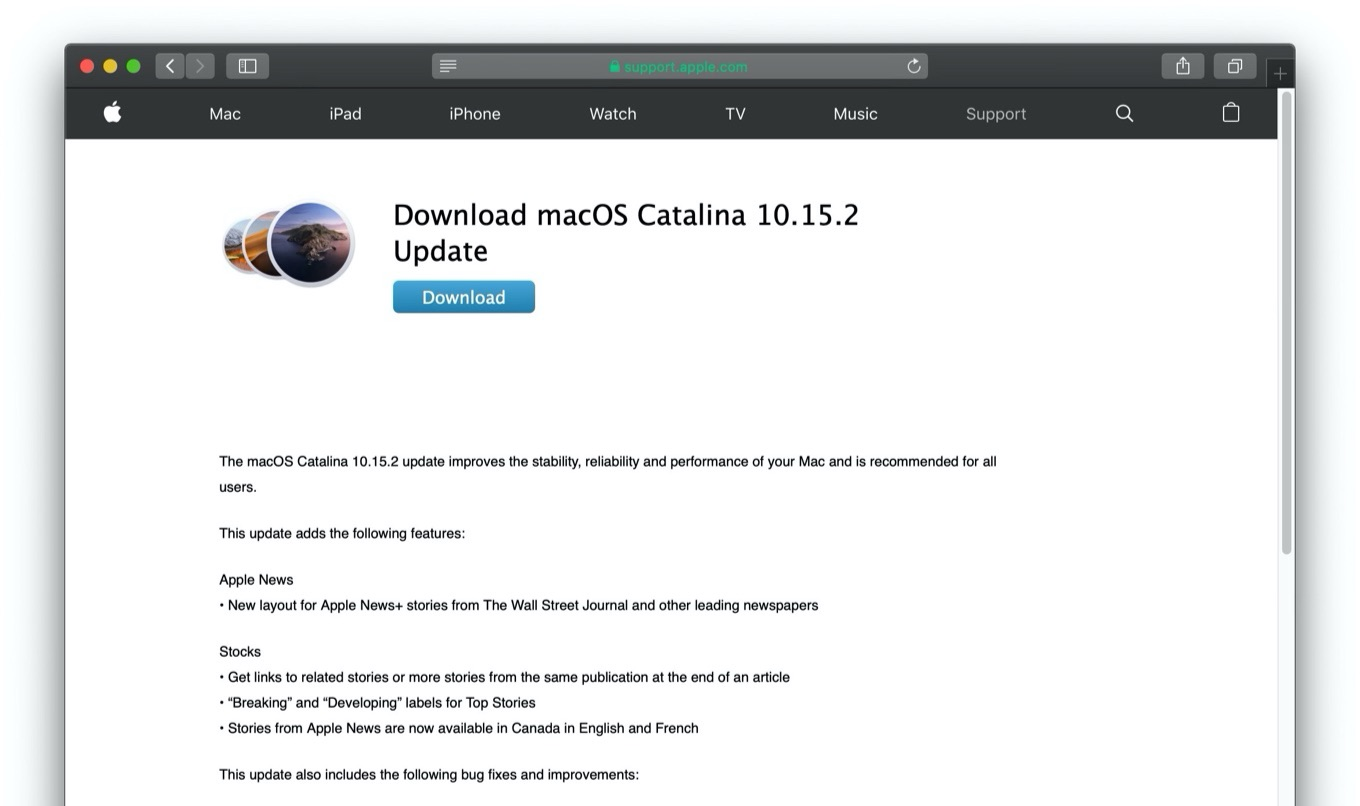 Download macOS Catalina 10.15.2 Update