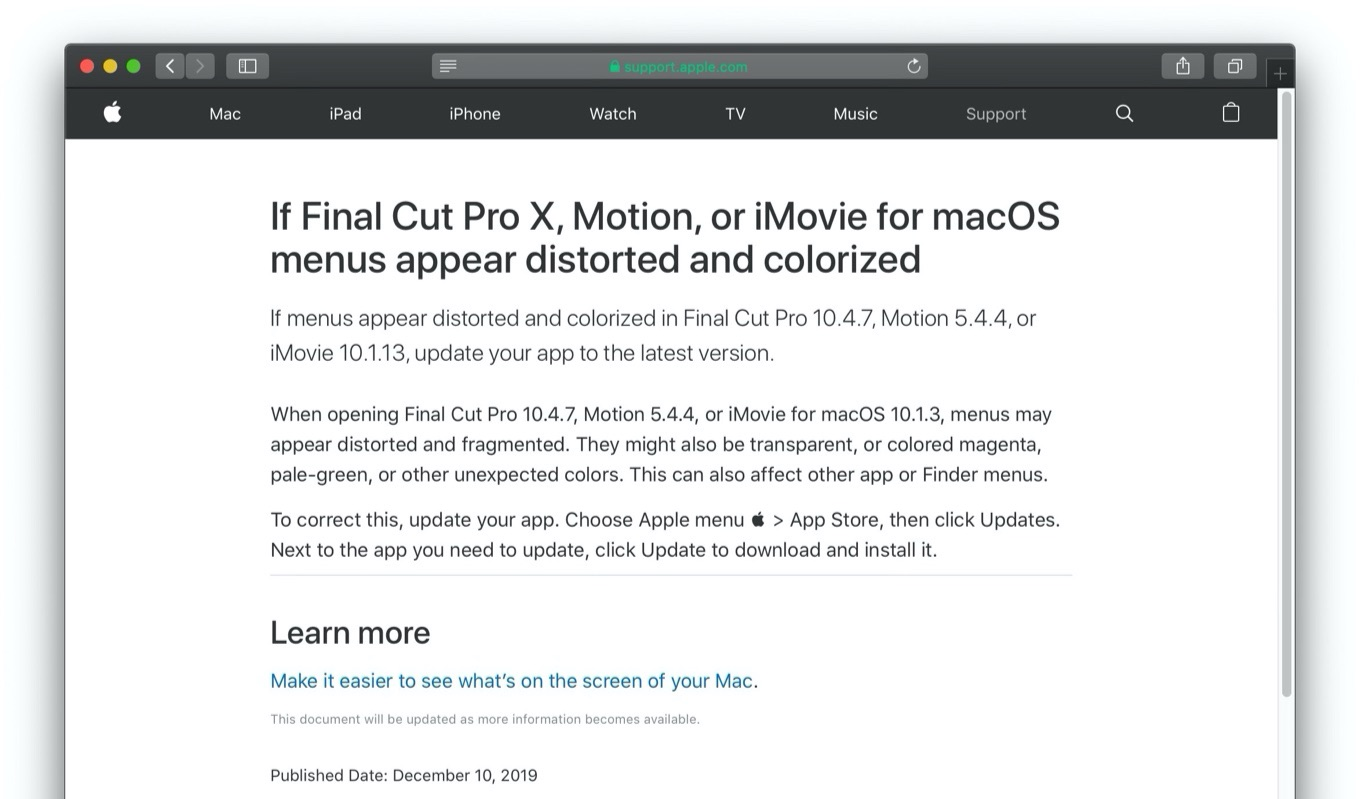 Final Cut Pro X menus appear distorted and colorized
