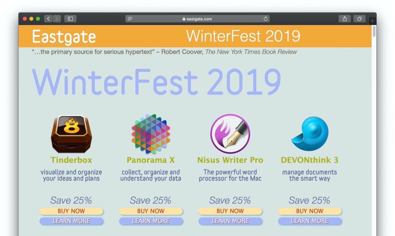 Mac Text app Tinderbox WinterFest 2019