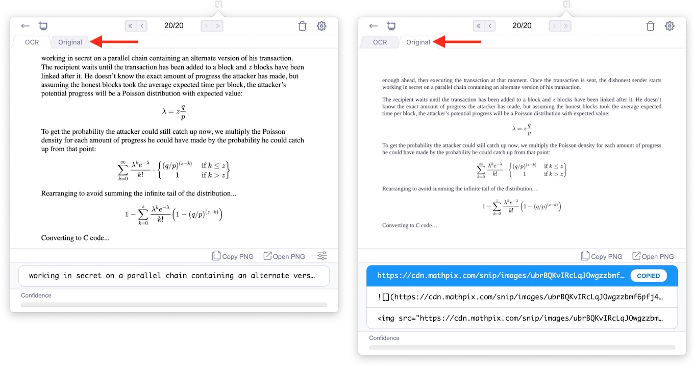 Mathpix Snip for Mac v2.2のタブ