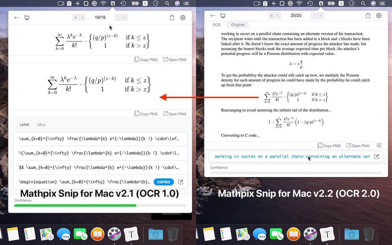 Mathpix Snip for Mac v2 OCR 1.0と2.0