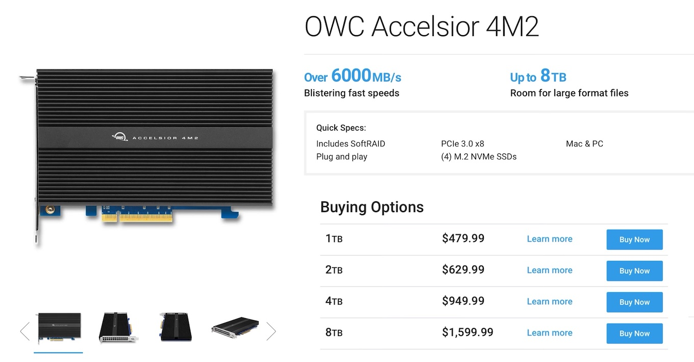 OWC Accelsior 4M2 の価格