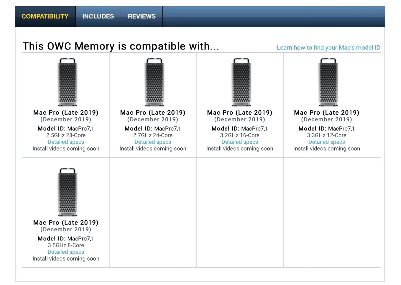 OWC Memory Upgrades for Mac Pro 2019 1TB